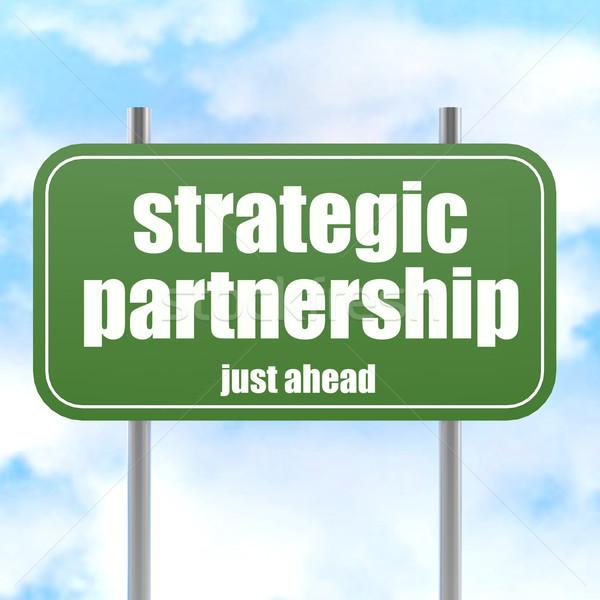 戦略的 パートナーシップ 幹線道路の標識 青空 画像 ストックフォト © tang90246