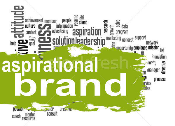 Aspirational brand cloud with green banner Stock photo © tang90246