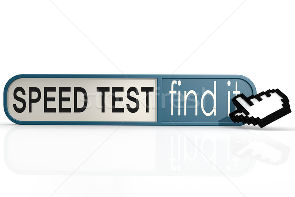 Speed test word on the blue find it banner Stock photo © tang90246