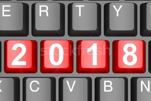 Yıl düğme modern bilgisayar klavye görüntü render Stok fotoğraf © tang90246