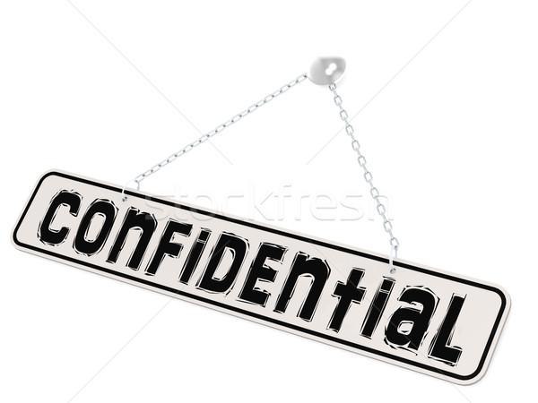Confidencial bandeira branco palavra isolado negócio Foto stock © tang90246