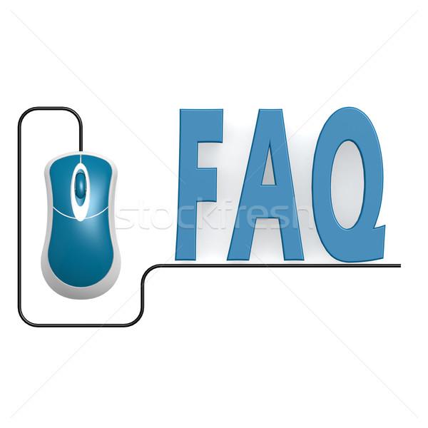 Faq mot une souris d'ordinateur image rendu Photo stock © tang90246