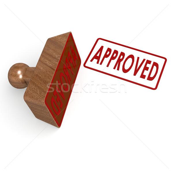 Approvato timbro business legno segno rosso Foto d'archivio © tang90246