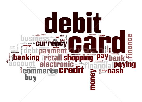Tarjeta de débito nube de palabras banco tarjeta electrónico comprar Foto stock © tang90246