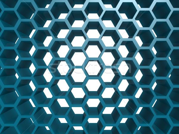 Kék hatszög minta technológia keret ipar Stock fotó © tang90246