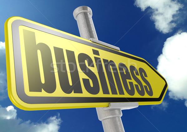 Сток-фото: желтый · дорожный · знак · бизнеса · слово · Blue · Sky · изображение