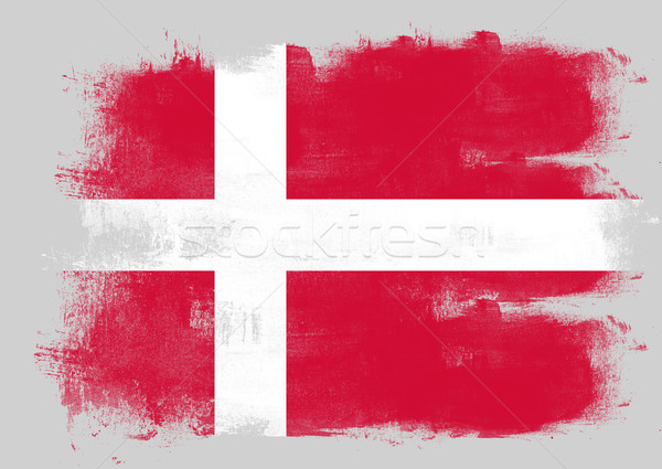 Flag of Denmark painted with brush Stock photo © tang90246