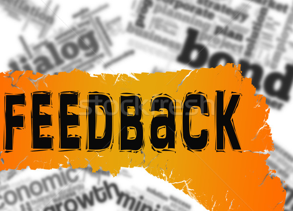 Word cloud with feedback word on yellow and red banner Stock photo © tang90246