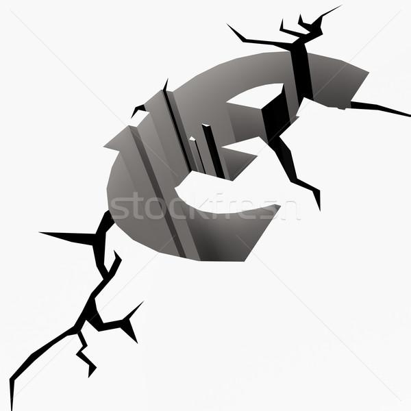 Crack ground euro sign Stock photo © tang90246