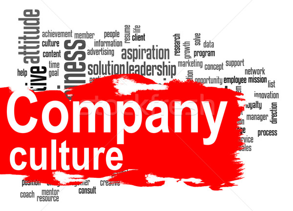 Company culture word cloud with red banner Stock photo © tang90246