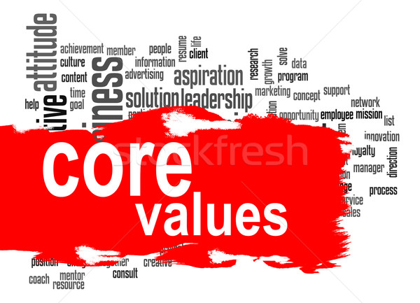 Core values word cloud with red banner Stock photo © tang90246