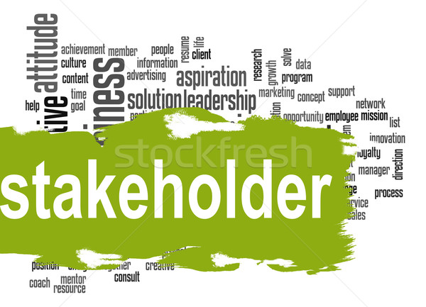 Stakeholder word cloud with green banner Stock photo © tang90246