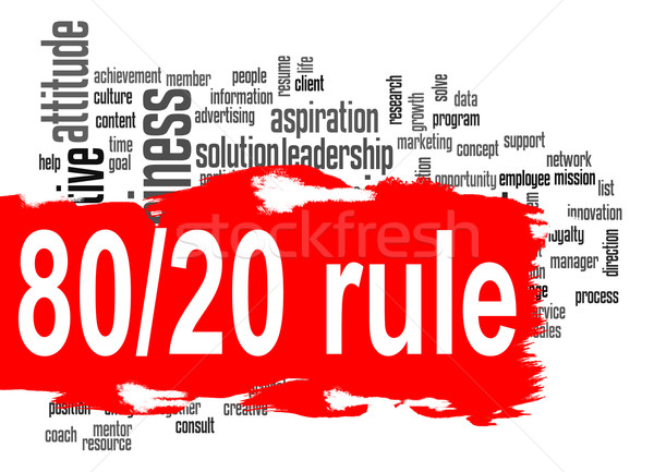 Governare 80 20 word cloud rosso banner Foto d'archivio © tang90246