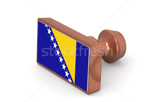 Wooden stamp with Bosnia and Herzegovina flag Stock photo © tang90246