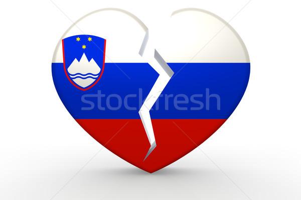 Rotto bianco a forma di cuore bandiera 3D Foto d'archivio © tang90246