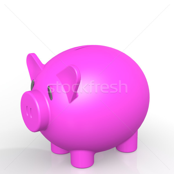 Pink isolated piggy bank Stock photo © tang90246