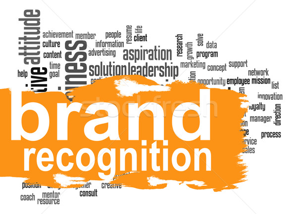 Brand recognition word cloud with orange banner Stock photo © tang90246
