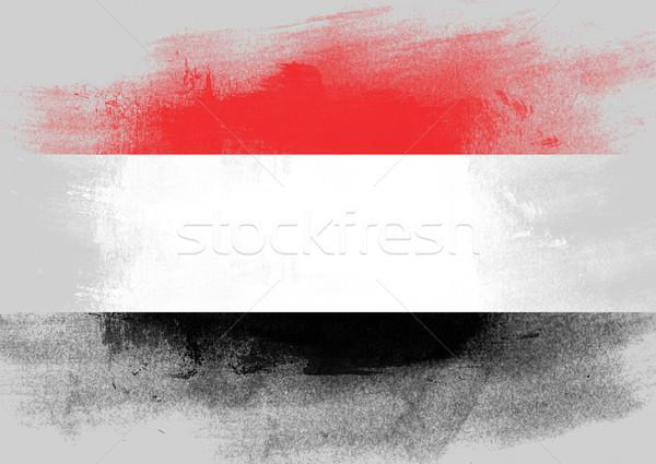 Vlag Jemen geschilderd borstel solide abstract Stockfoto © tang90246