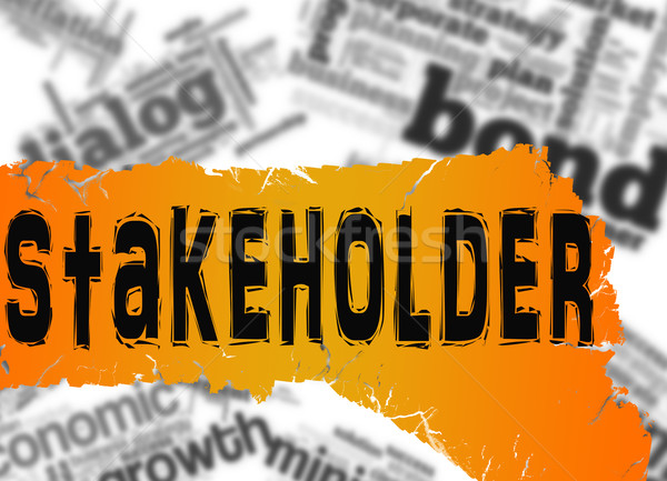 Word cloud with stakeholder word on yellow banner Stock photo © tang90246