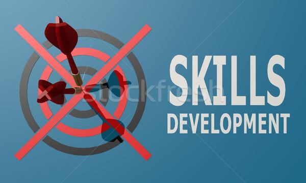 Dart board blue skills development Stock photo © tang90246