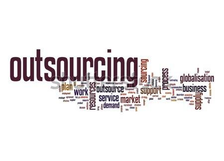 Outsourcing woordwolk werk plan tag strategie Stockfoto © tang90246
