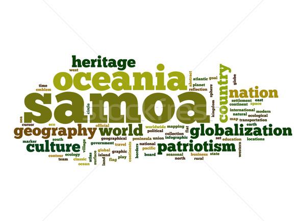 Foto stock: Samoa · nuvem · da · palavra · negócio · mundo · nuvem · planeta