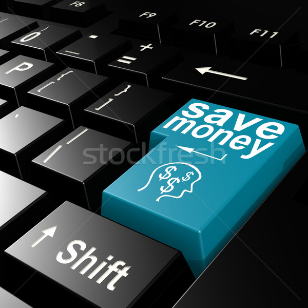 Save money word on the blue enter keyboard Stock photo © tang90246