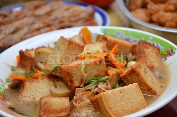 Kínai edény sült tofu gurmé ízletes Stock fotó © tang90246