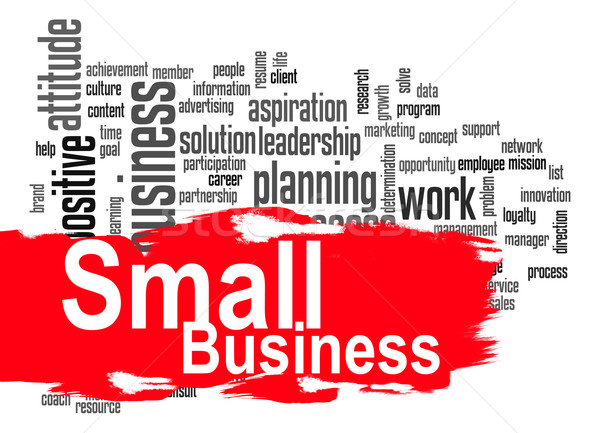 Small business word cloud with red banner Stock photo © tang90246