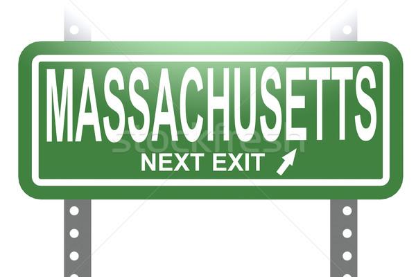 Массачусетс зеленый знак совета изолированный изображение Сток-фото © tang90246