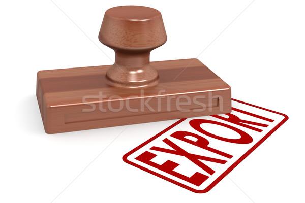 Stockfoto: Houten · stempel · exporteren · Rood · tekst · afbeelding