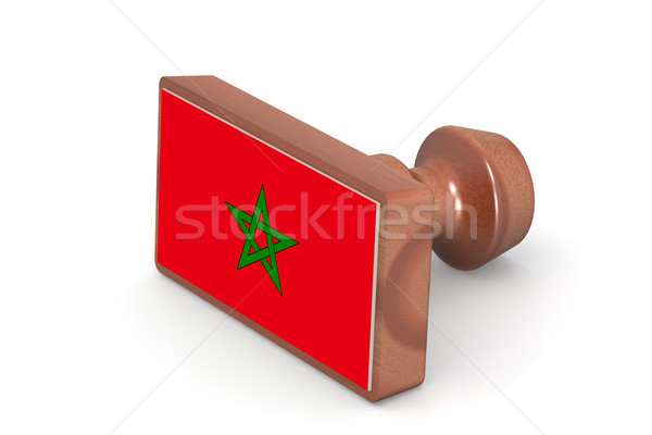 Wooden stamp with Morocco flag Stock photo © tang90246