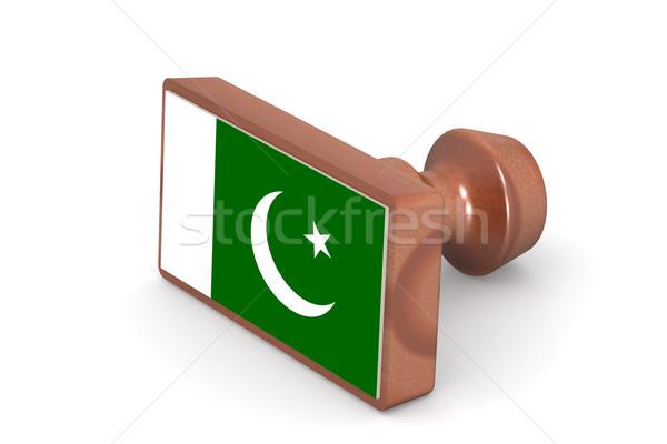 Houten stempel Pakistan vlag afbeelding gerenderd Stockfoto © tang90246