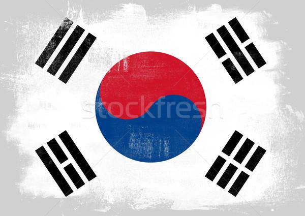 Bandeira Coréia do Sul pintado escove sólido abstrato Foto stock © tang90246