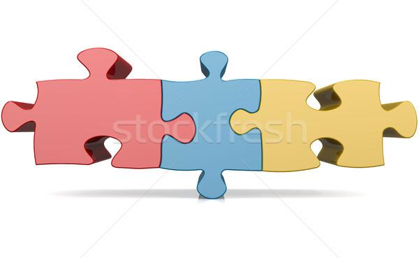 青 赤 黄色 ジグソーパズル 画像 レンダリング ストックフォト © tang90246