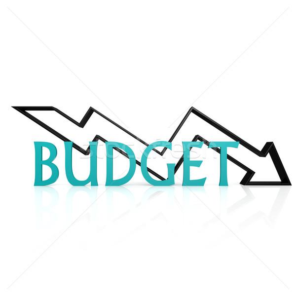 бюджет вниз стрелка знак Финансы рынке Сток-фото © tang90246