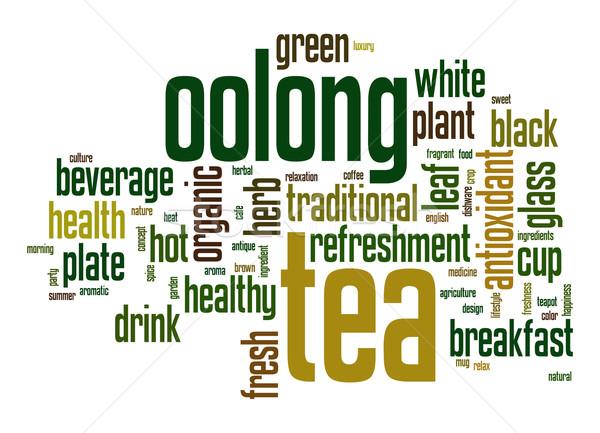 Oolong çay kelime bulutu yaprak cam içmek Stok fotoğraf © tang90246