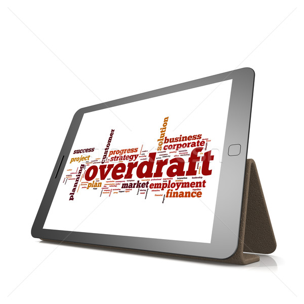 Overdraft word cloud on tablet Stock photo © tang90246