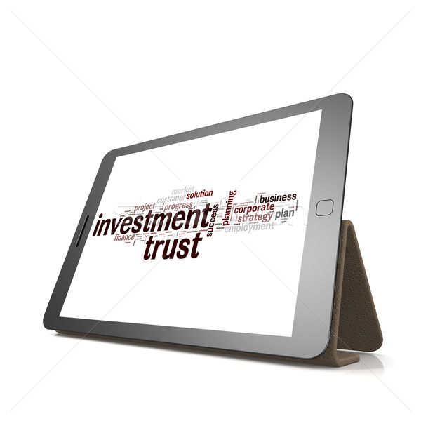 Investment trust word cloud on tablet Stock photo © tang90246