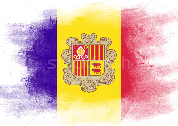 Flag of Andorra painted with brush Stock photo © tang90246