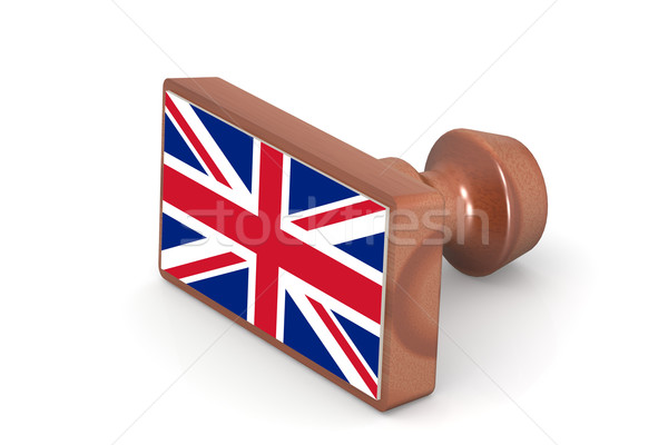 Bois tampon Royaume-Uni pavillon image rendu Photo stock © tang90246