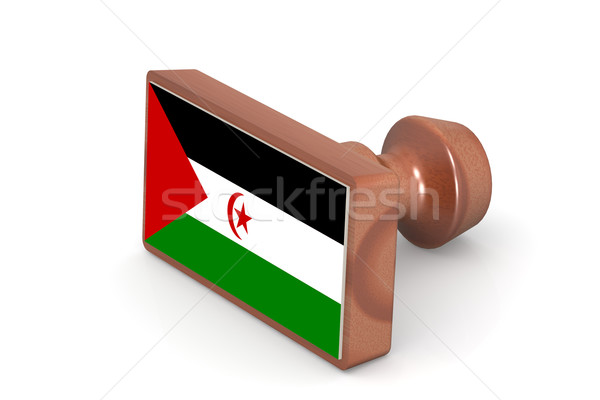 Wooden stamp with Western Sahara flag Stock photo © tang90246