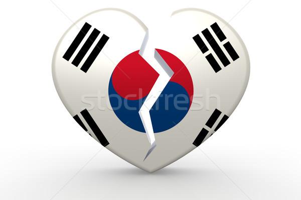 Kırık beyaz kalp şekli güney bayrak 3D Stok fotoğraf © tang90246