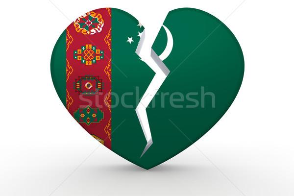 Quebrado branco forma de coração bandeira 3D Foto stock © tang90246