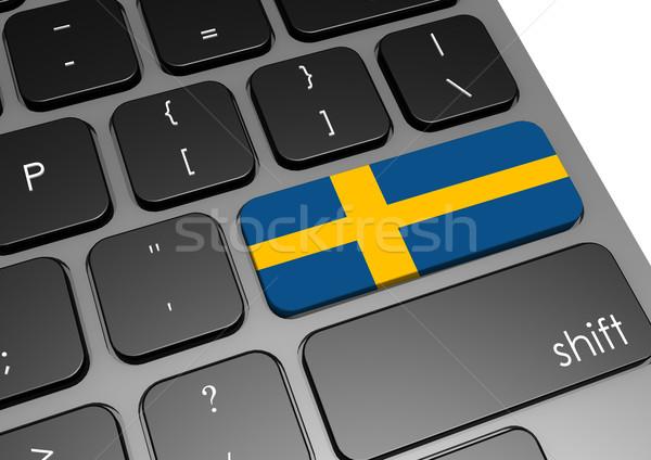 Szwecja klawiatury obraz świadczonych używany Zdjęcia stock © tang90246
