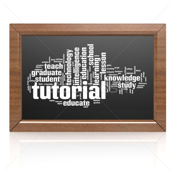 Lavagna tutorial legno frame istruzione verde Foto d'archivio © tang90246