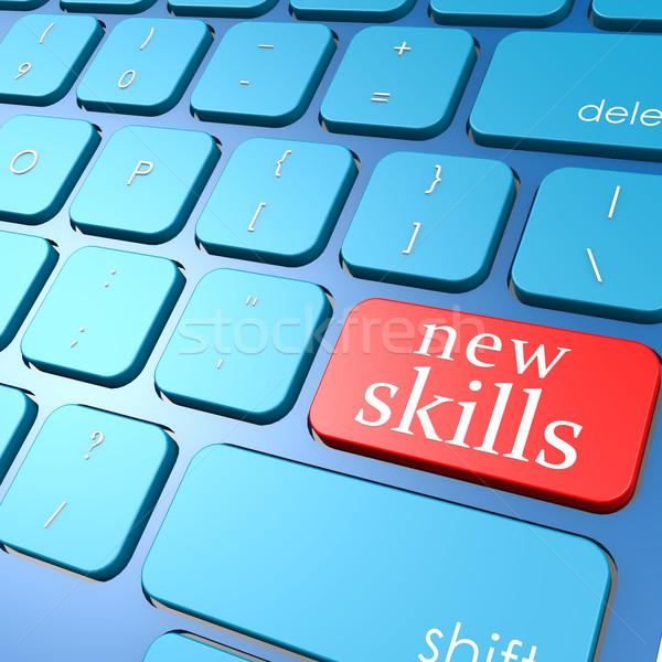 Neue Fähigkeiten Tastatur Ausbildung Erfolg Taste Stock foto © tang90246