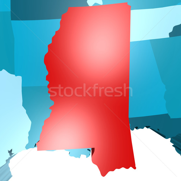 Mississippi map on blue USA map Stock photo © tang90246
