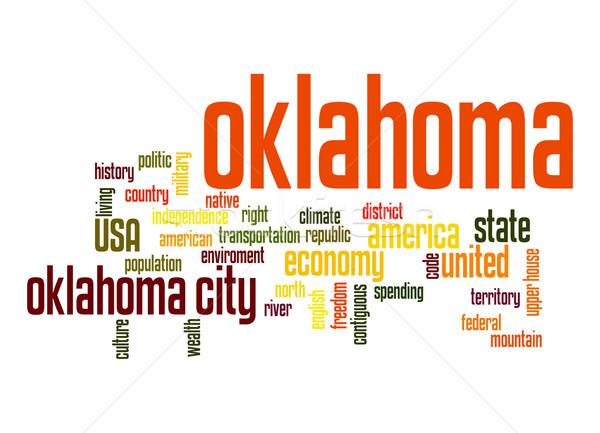 Oklahoma woordwolk wolk vrijheid geschiedenis grafische Stockfoto © tang90246