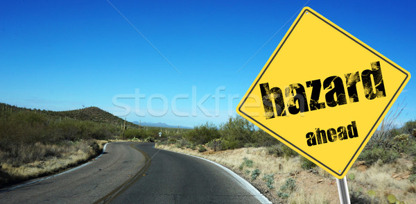 Hazard ahead sign Stock photo © tang90246